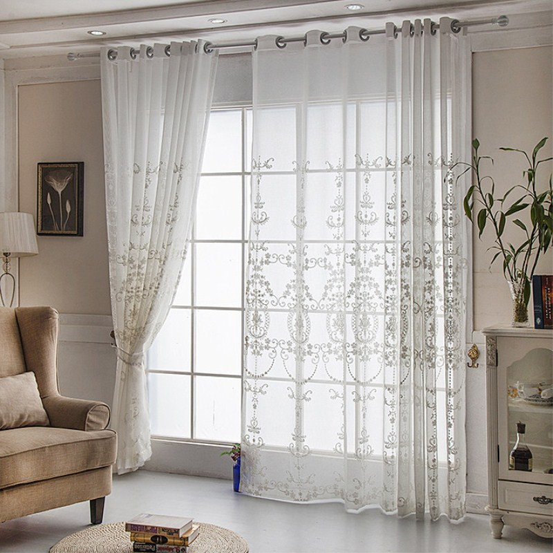 {byetee} Embroidery White Voile Sheer Curtain For Living