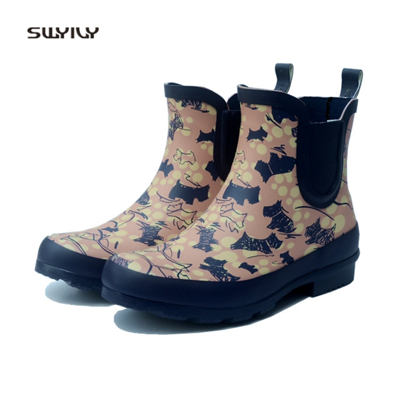 SWYIVY Rubber Rainboots Woman Lovely Dog Graffiti 2018 Autumn Winter Female Waterproof Ankle Boots Tube Water Rain Boots цена