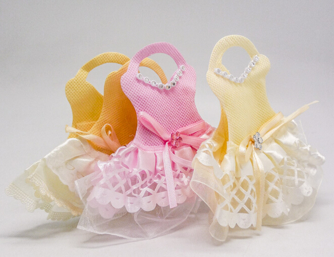 24 Pcs Creative New Baby Girls Cute Lace Dress Cloth Candy Bags Shower 1st Birthday Party Favors Gift Bag Box