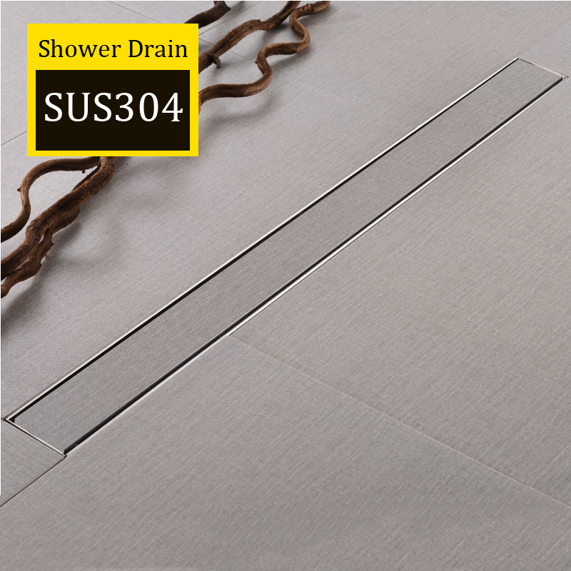 AODEYI 600mm Long Strip Floor Drain 304 Stainless Steel Odor-resistant With Tile Insert Grate Invisible Shower Drain Brushed