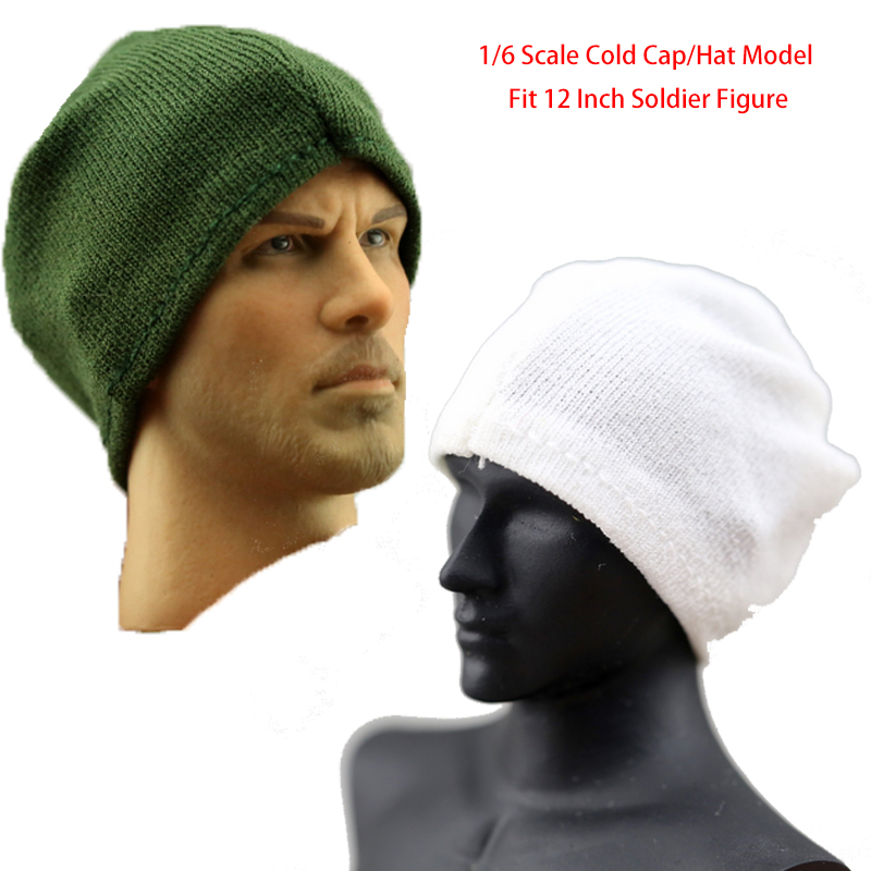 Fit 1/6 Scale Doll Mini Cold Cap/Hat Model Winter Cotton knitting Can Turn Mask Green/Wh ...