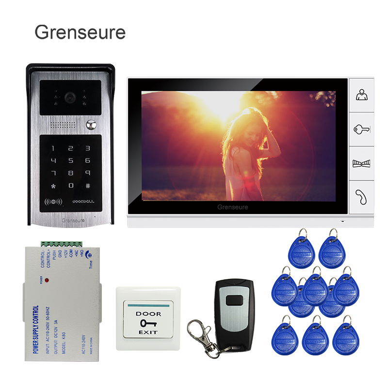 Free Shipping 9 inch LCD Screen Video Door Phone Intercom Kit + Outdoor RFID Code Keypad Number Doorbell Camera + Remote + Power free shipping original7 inch lcd screen original cable number lms700kf15 fpc