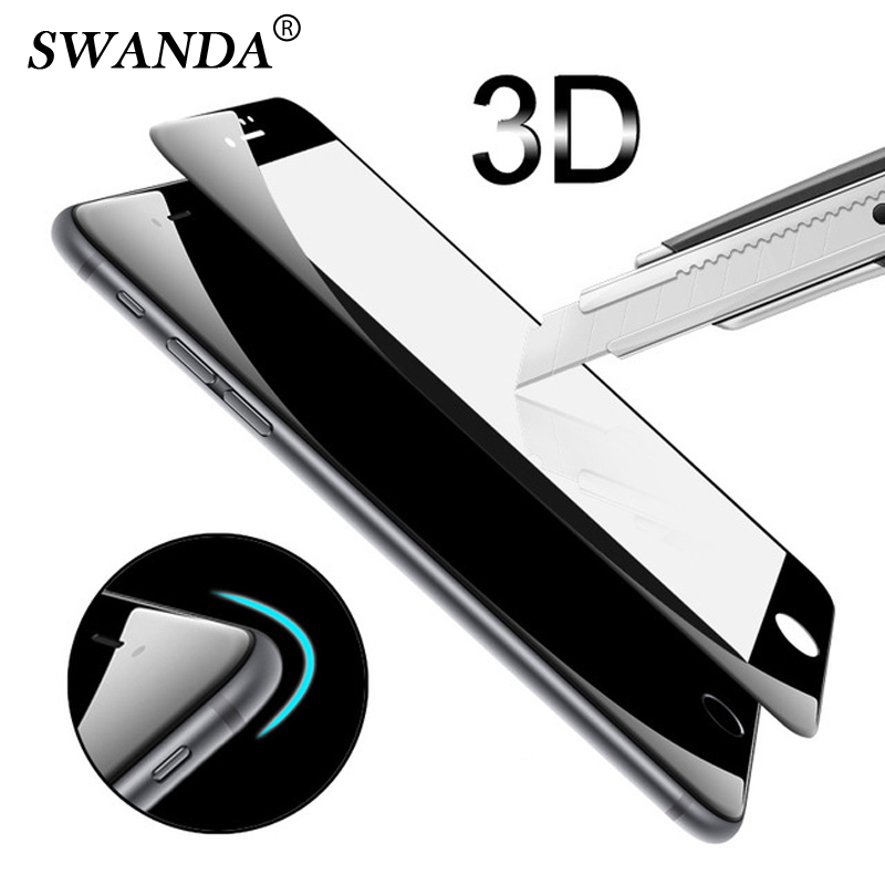3D Curved Full Coverage Soft Edge For iphone 6 6s Tempered glass film on For iPhone 7/<font><b>8</b></font> plus Screen Protector glass <font><b>Black</b></font> White