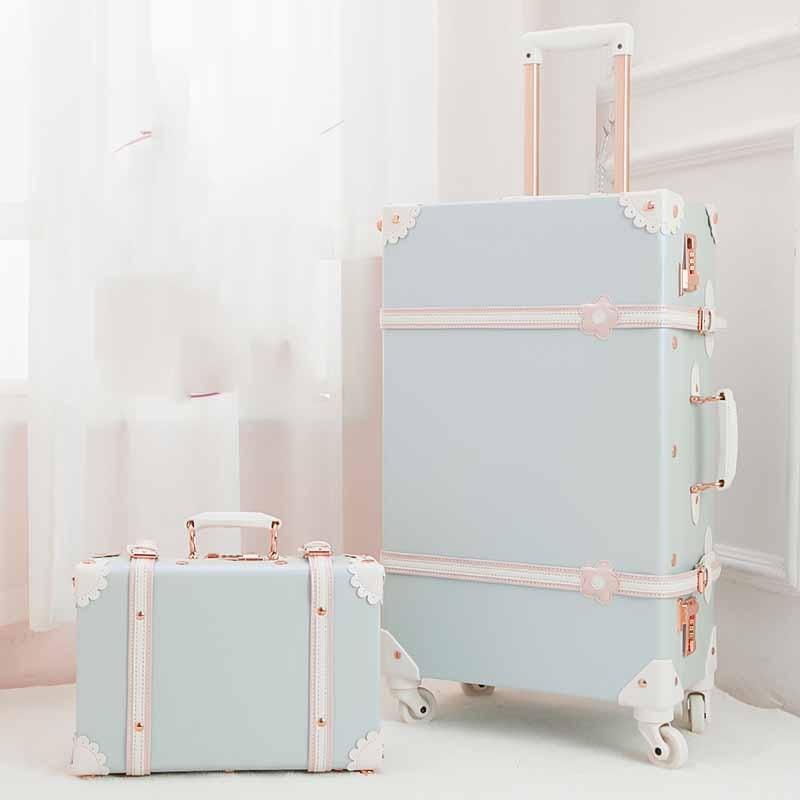BeaSumore Retro PU Leather Rolling Luggage Set Spinner Suitcase Wheel Vintage Cabin Trolley Women s Handbag