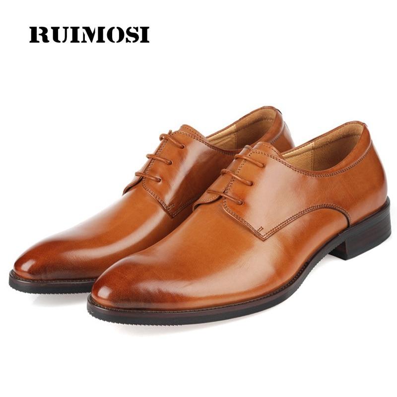 RUIMOSI Top Quality Round Formal Man Dress Shoes Genuine Leather Derby Oxfords Luxury Brand Men's Wedding Bridal Footwear ME82
