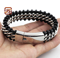 mens stainless steel Jewelry Bracelets Charm Male Titanium Steel Bracelets Braided Genuine Leather Bracelet Gold and steel color
