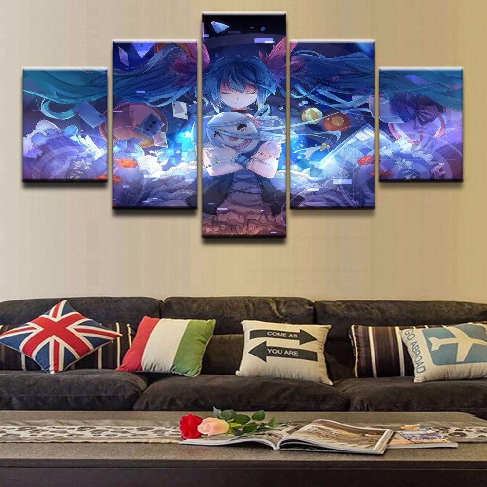 Холст Wall Art кадров Холст Картина 5 шт. Аниме Евангелион Rei Ayanami настенные панно для гостиной напечатаны