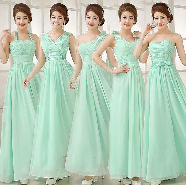 Mint Bridesmaid Dresses Long Formal Dresses Chiffon Light Green Prom ...