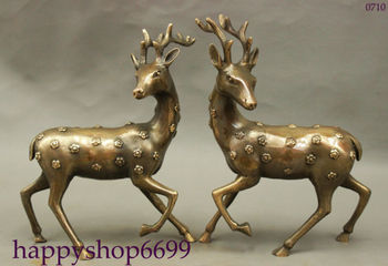 FengShui Chinese Bronze Culture Auspicious Animals Sika Deer Copper Statue Pair Collectible Old Handwork copper Silver Bronze