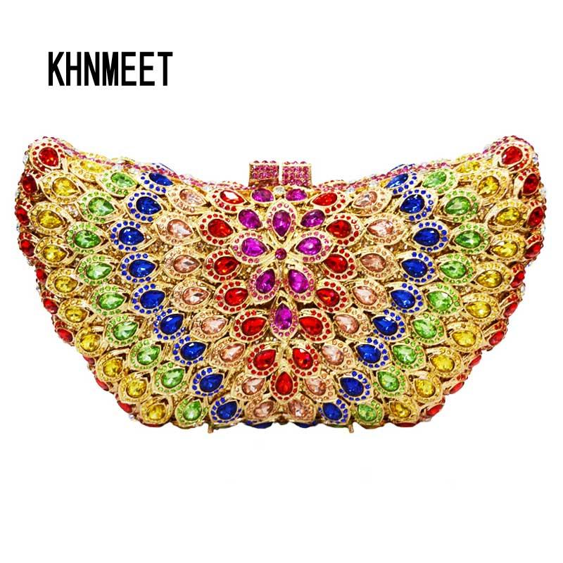 LaiSC Butterfly Shape Luxury crystal clutch bag white diamond wedding women purse pochette ladies prom clutch evening bag SC108