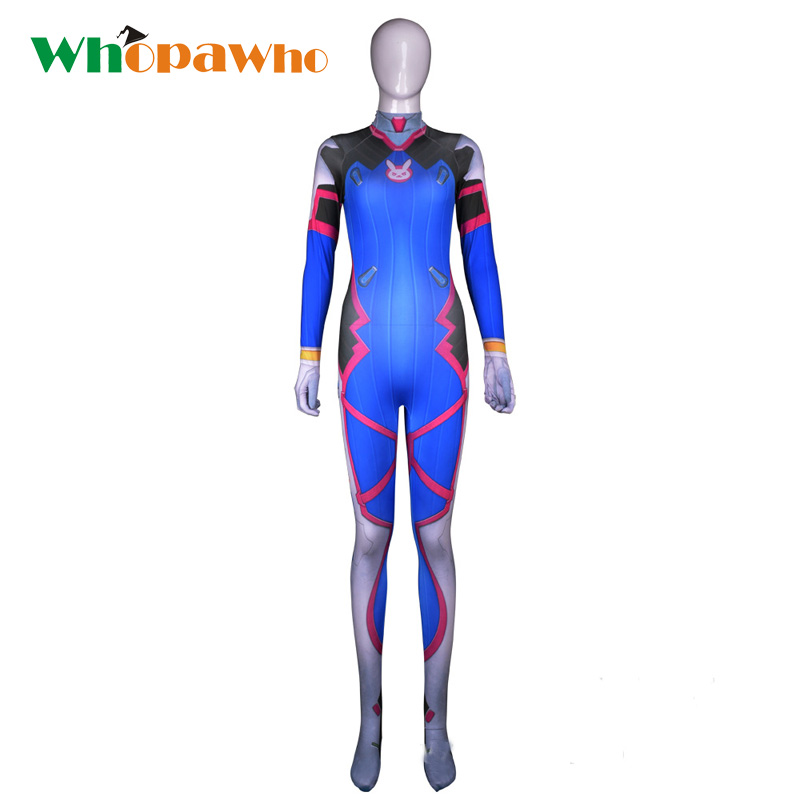 Female/Women/Girl/Lady D VA Costume dva Cosplay Costumes Womens Zentai Catsuit Halloween Lycra Spandex 3D Digital Print Bodysuit