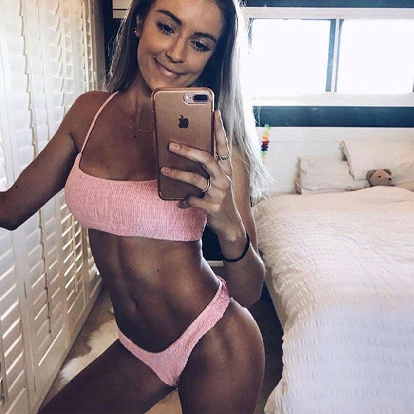 2018 Sexy Hot Rosa Bikini Set Micro Tanga Bademode Frauen Bikinis Plissee Badeanzug Weibliche Brazilian Push Up Biquini Badeanzüge