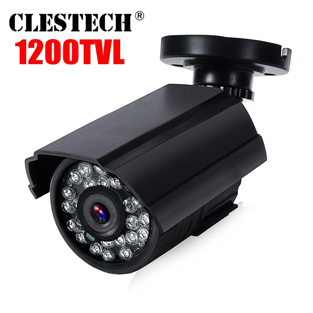 Real 1200TVL HD Mini Cctv Camera Cmos Outdoor Waterproof IP66 IR Night Vision Analog Cam Color Monitoring Security With Bracket