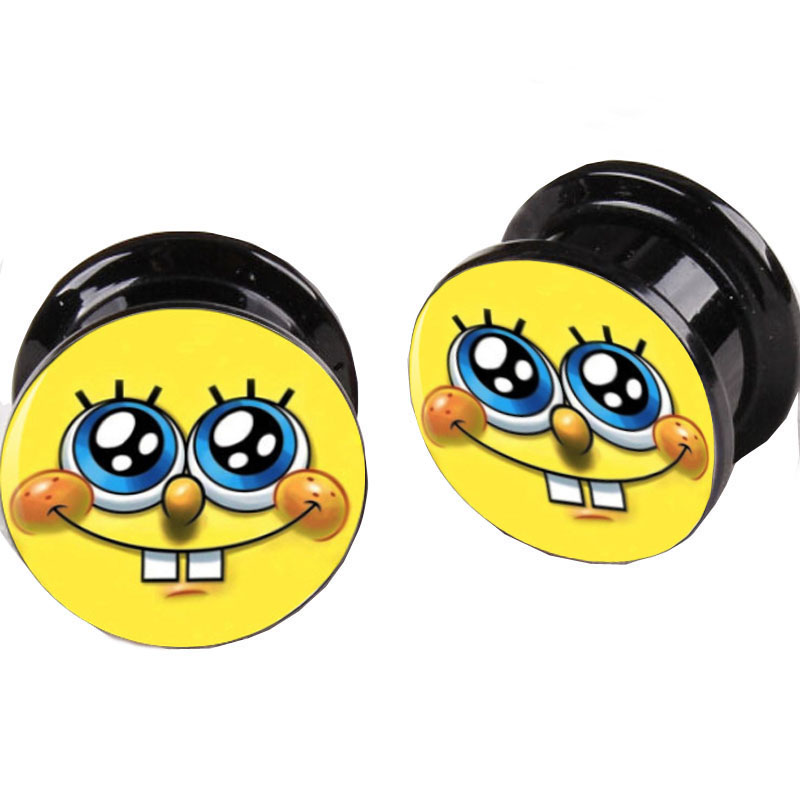 Wholesale Black Acrylic Spongebob Lovey Face Logo Ear Plugs Flesh Tunnels Mix 8 Sizes 64pcs Ear Gauges Body Piercing Jewelry