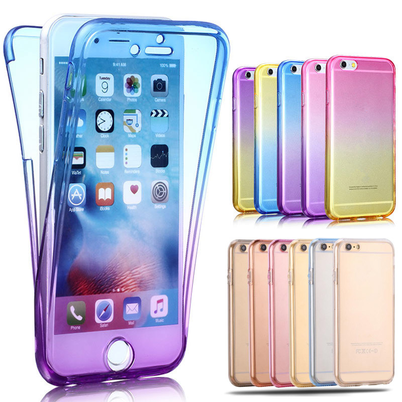 360 Degree Gradient Color Full Body Front Back Soft Clear TPU Silicone Case Cover