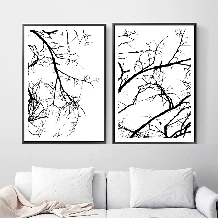 Canvas painting abstract tree wall art poster and prints picture decor painting