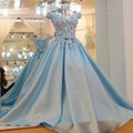 Licheng Bridal синий лодка шеи тюль бальные платья бальное платье длина пола лук цветы с пояса тюль платье для выпускного вечера платья