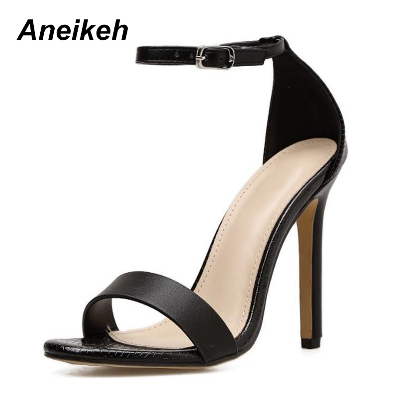 Aneikeh Sexy Sandals Western Patchwork Serpentine Women s Ankle Strap 11cm High  Heels Thin Heels Sandals Ladies Sexy Shoes-in High Heels from Shoes on ... 45c66846e021