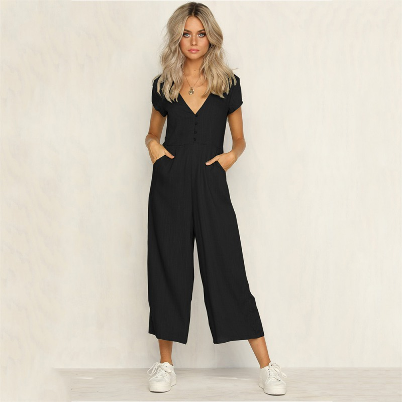 2018 Summer New Fashion Women Clothing Rompers Deep V collar Ankle-Length Pants Solid co ...