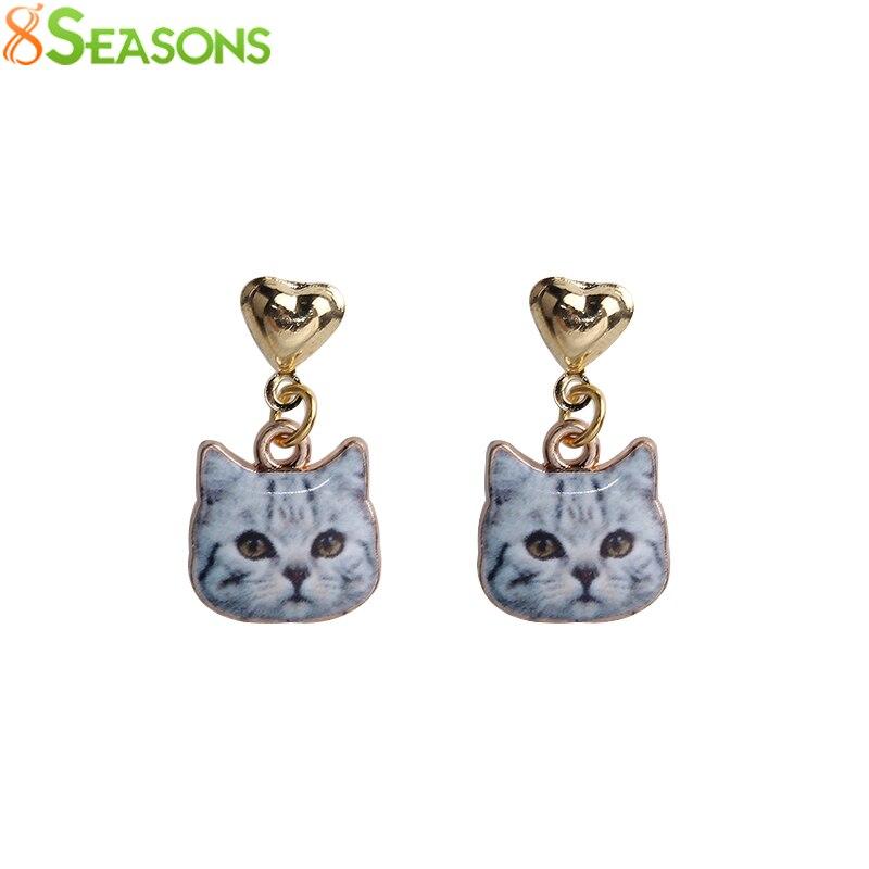 8SEASONS New Fashion Women Stud Earrings Gray Brown White Cat Animal Heart Gold Color Stud Earrings 23x13mm, 1 Pair