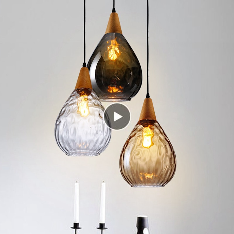 LukLoy Modern LED Pendant Lights Water Drop Glass Wood Loft Pendant Lamp Ceiling For Loft Kitchen Island Cafe Bar Dining Room