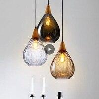 LukLoy Modern LED Pendant Lights Water Drop Glass Wood Loft Pendant Lamp Ceiling for Loft Kitchen Island Cafe Bar Dining Room