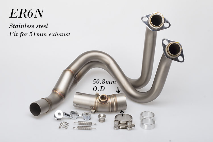 Motorcycle muffler ER6N Exhaust Middle Pipe Link Pipe Stainless Steel Motorbike Muffler Exhaust Link Mid adapter for ER6N new motorcycle exhaust full stystem mid link pipe motorbike laser marking muffler for ducati scrambler with muffler
