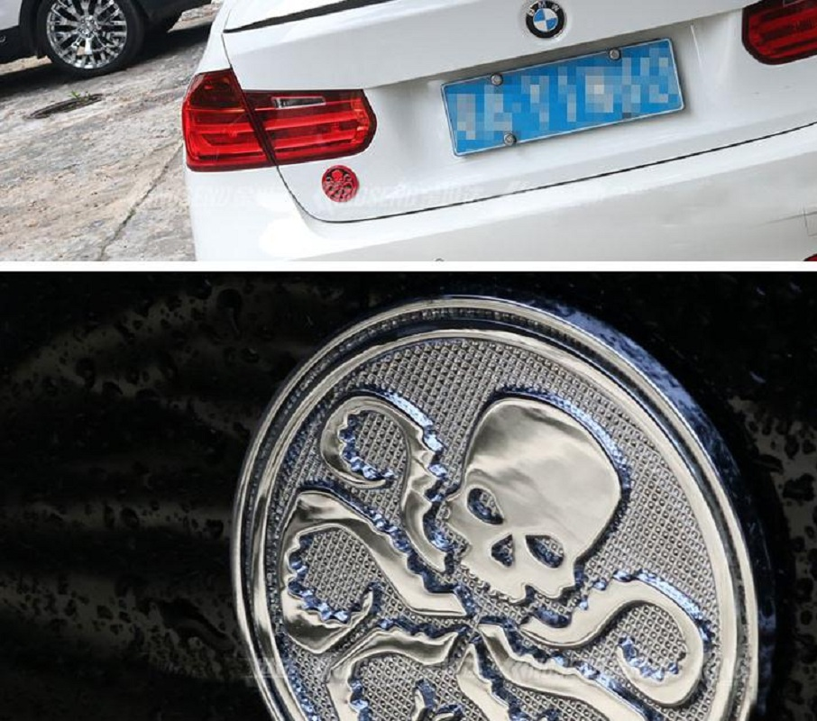 Metal sticker Octopus Skull car emblem Side rear trunk Badge stickers Auto accessories Free shipping High quality