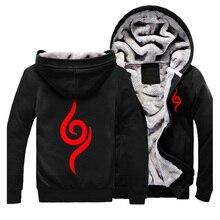 Men Winter Hoodies Naruto Hoodie Cosplay Costume Black Coat Autumn Sweatshirt Fleece Outwear Halloween Uniform