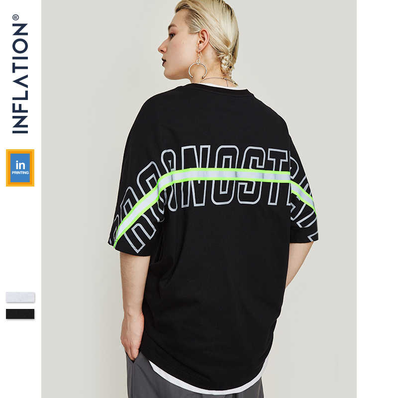 2e26fd89b INFLATION Reflect Stripe Tee Drop Shoulder Streetwear Men 2019 Harajuku Tee  Shirt Fashion Loose Fit Short