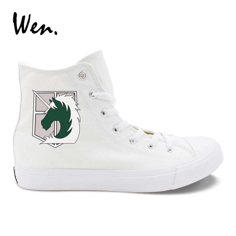Wen Sneakers Man Woman Vulcanize Shoes Design Attack on Titan Military Police Regiment Logo Stationed Corps Canvas Plimsolls sneakers