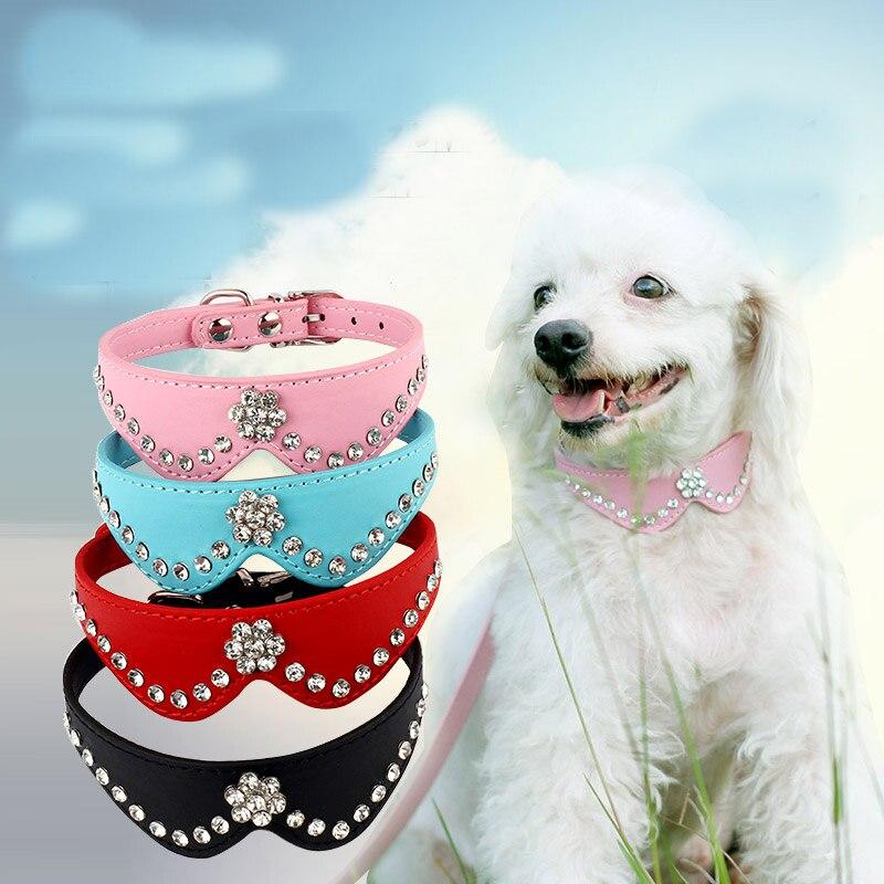 Rose Productos Princesa Rhinestone Bling Arcos Cuello Collares Para Mascotas Gat