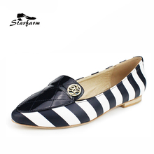 STARFARM Real Leather Flats Pointed Toe Ballet Zebra Style Stripes Patent Loafers Dough Boat Shoes  Women Shoes Woman Black New