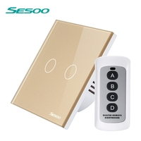 SESOO Wireless Light Touch Switch 220V 2 Gang 1 Way RF433 Remote Control Switch With Remote