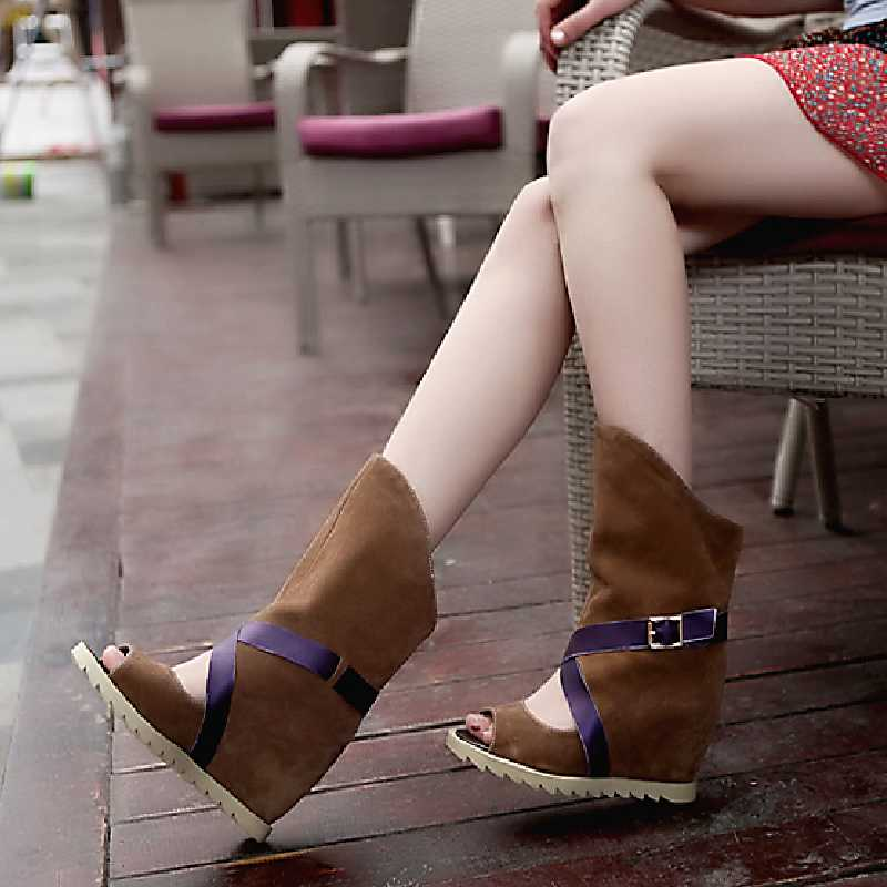 Lapolaka Summer Boots Hidden Wedge High Heel Open Toe Platform Shoes 2019 Woman mid-calf Leisue Boots women shoes