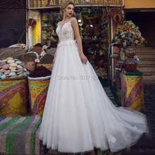תחרה אפליקציות שרוולים קו חתונת שמלות O צוואר ללא משענת כפתור Vestido דה Novias לונגו כלה שמלת עבור הכלה נישואים