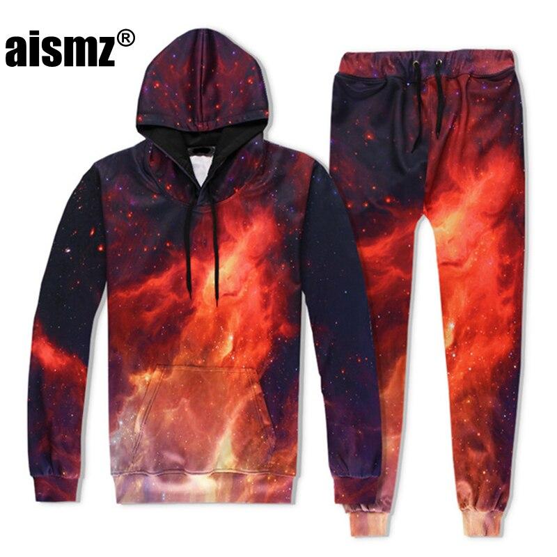 Aismz Autumn Winter Casual Mens Tracksuit Set Red Fire 3D Print Hooded Sweatshirt+Pants 2 Piece Sets Moletom Masculino Men Suit