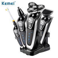 Kemei5181 4 In 1 Multifunction Rechargeable Electric Shaver 4D Floating Cutting System Shaver Razor IPX6 Waterproof