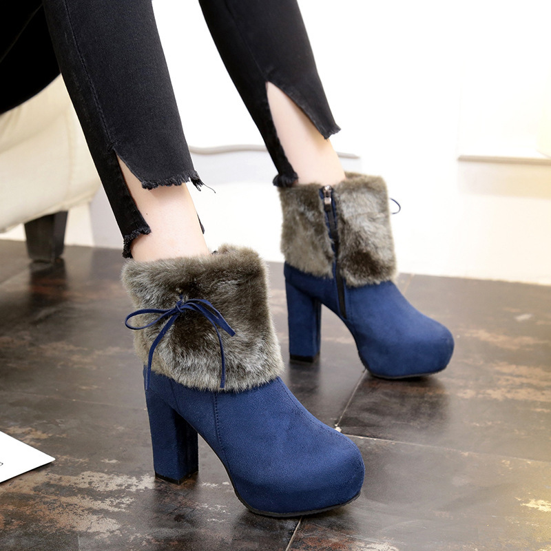 En 2 Chaussures 1 2018 Étanche Femme forme Femmes Talon Bottes Spry Raquettes D'hiver Cheville Plate Fourrure Talons Chaussons Botte Peluche U6qHw00