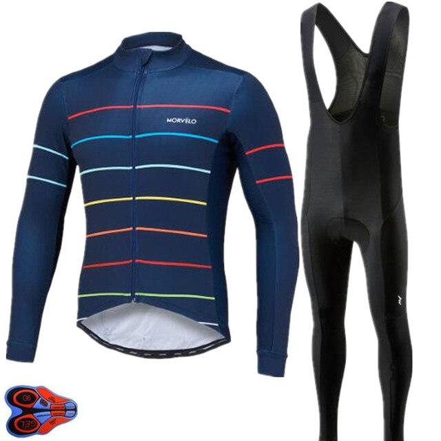 27000483f 9D GEL PAD 2018 Pro team Morvelo long sleeve Cycling Jersey pants Set  Autumn Cycling Clothing Road Bike Jerseys Bib Pants kits