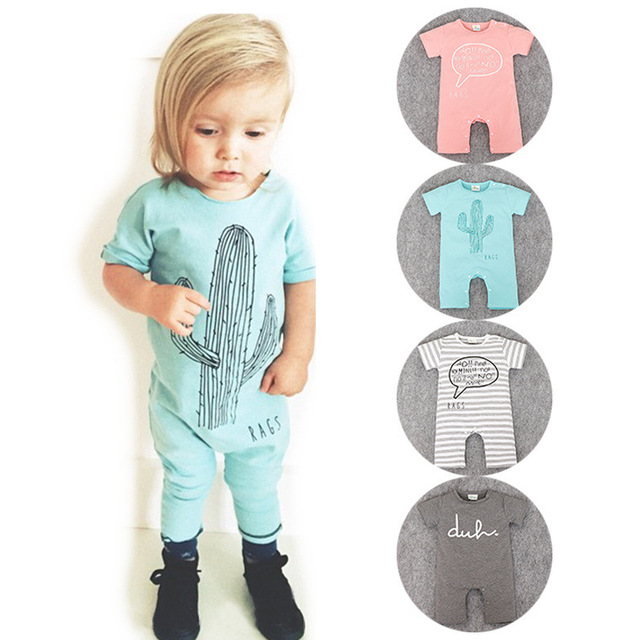 Baby Rompers cactus Cartoon Cotton Baby Wear Summer Short-Sleeved Infant Jumpsuit Boy Girl Baby Clothing Newborn Bebe Bib Romper