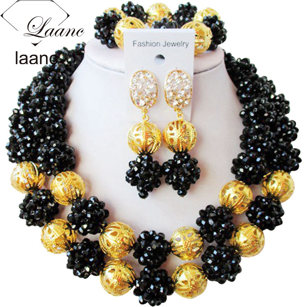 New Black Crystal Gold Finding Beaded Necklace Bracelet Nigerian African Wedding Beads Bridal Jewelry Sets ZG763New Black Crystal Gold Finding Beaded Necklace Bracelet Nigerian African Wedding Beads Bridal Jewelry Sets ZG763