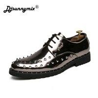 Men Thick Bottom Dress Shoes Luxury Italian Style Fashion rivets decoration Men Trend Bring Business Leather Shoes Men