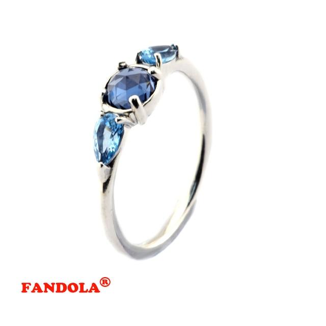 Patrones de Frost Anillo de Plata con la luz de La Luna Azul y Cielo Azul de Cristal 100% de Plata de ley 925 Anillos de La Joyería para mujeres FLR103