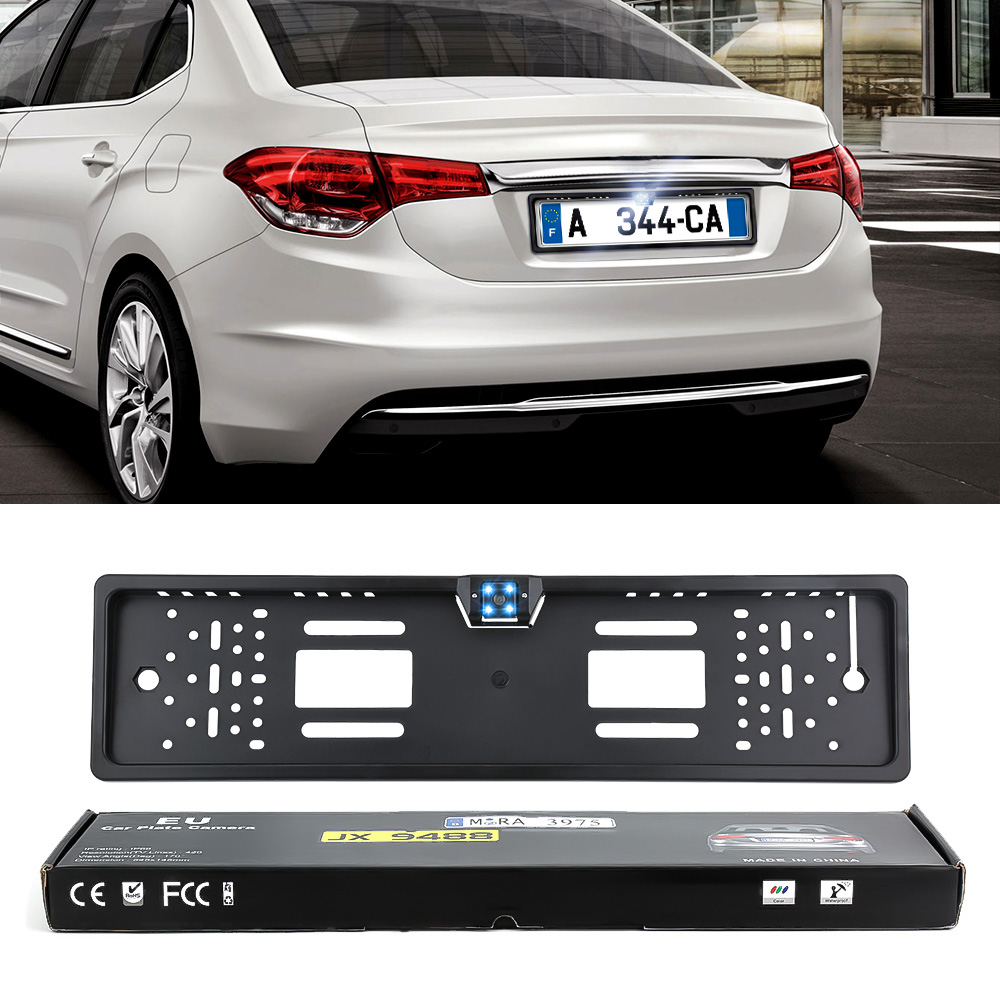 Auto Parktronic EU Car License Plate Frame HD Night Vision Car Rear View Camera Reverse Rear Camera With 4 Led Light-in License Plate from Automobiles & Motorcycles