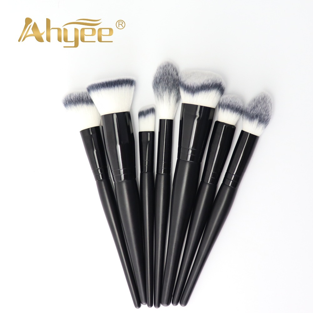 Ahyee New 7PCS Pro Makeup Brushes Kits Dense Soft Synthetic Hair Wood Handle Used For Foundation Highlighter Contour