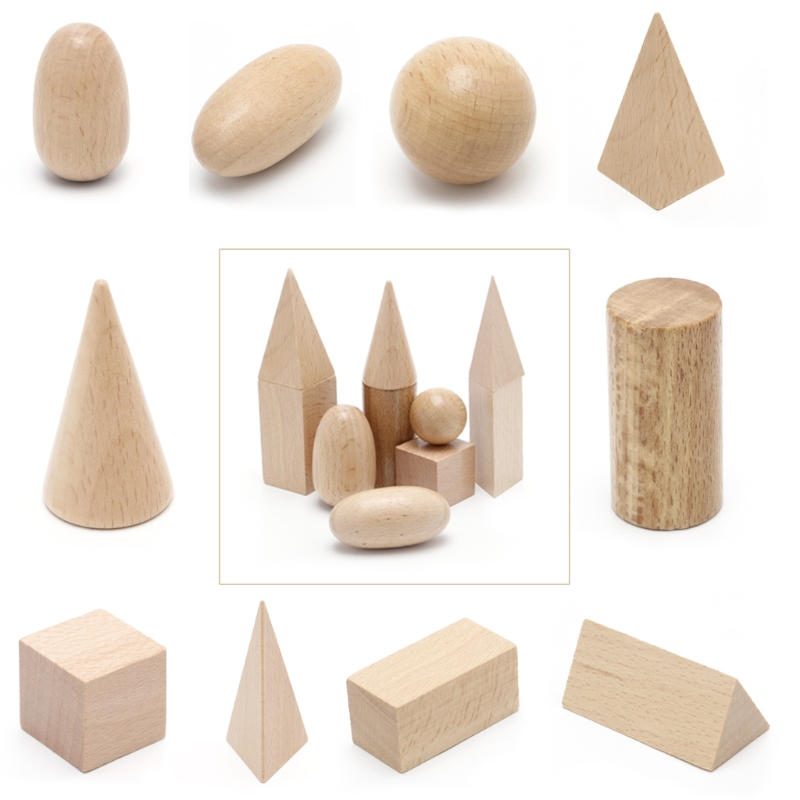 Wooden Geometric Solids 3-D Shapes Montessori Learning Resources for School Home  Wooden Geometric Solids 3-D Shapes Montessori Learning Resources for School Home