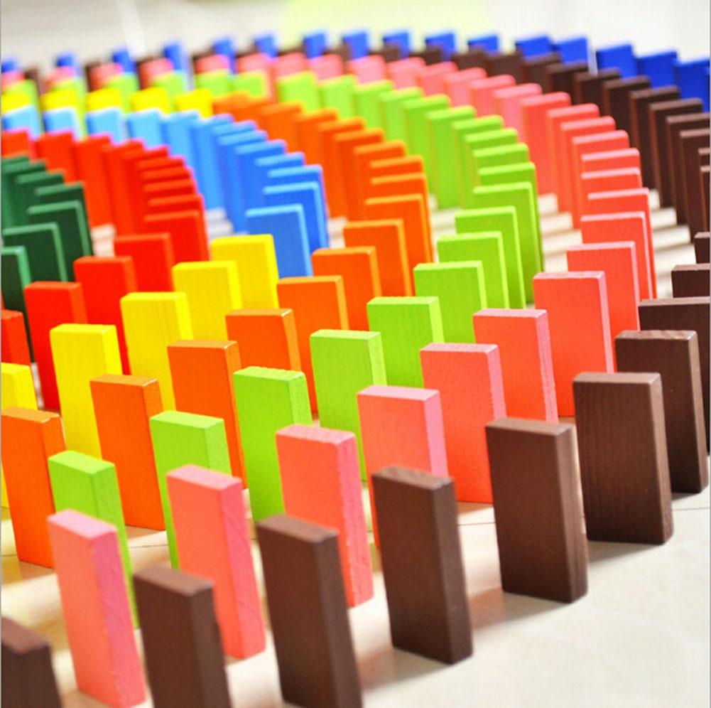 mocai 120pcs / lot Lojë bordit për fëmijë Dhuratë druri Domino - Lodra ndërtimi - Foto 2