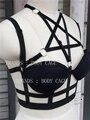 Pentagram Bondage Bra,Goth Garter Belt,Sexy Harness Lingerie,Cage Bralette,Bondage Crop Top,Funny Rave Wear,festival Clothing