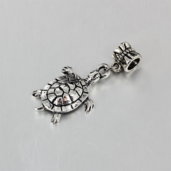 New Silver Sterling Plated green stone sea turtle Charm Fit European UK bracelet